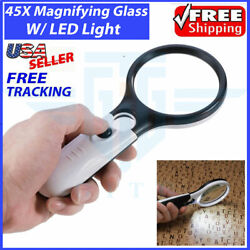 45X Magnifying Glass Handheld Magnifier 3 LED Light Reading Lens Jewelry Loupe $7.49