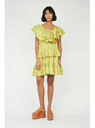 RHODE RESORT NWT Yellow Eden Floral Dotty Ruffle Off The Shoulder Mini Dress L $150.00