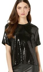Nicole Miller Artelier BLACK Sequin T Shirt US X Large