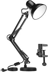 Metal Desk Lamp Adjustable Swing Arm with Interchangeable Base And Clamp $22.99