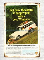 1966 Kaiser Jeep Wagoneer ads tin sign donor pub cafe home plaques $16.98