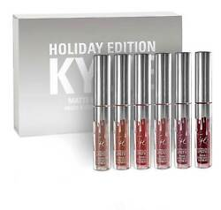 Kylie Jenner Holiday Edition Matte Liquid Lipstick Set 6 Pcs Gift Set Free Ship