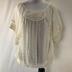 Free People Crochet Top Ivory Lace Boho Romantic Ruffle Blouse Women's Small S $22.48