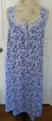 NWOT BLUE w WHITE LACE CROFT amp; BARROW WOMEN#x27;S LONG COTTON NIGHTGOWN IN SIZE MED $24.99
