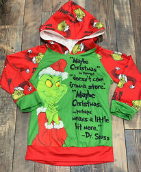 Co op Boys Christmas Grinch Holiday Hooded Shirt Size XL 5 6 Vguc $11.99