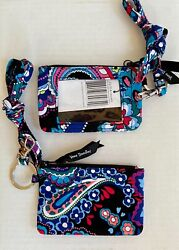 Vera Bradley ZIP ID CASE and LANYARD Set HAYMARKET PAISLEY New $19.99
