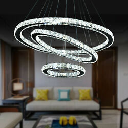 US Modern Crystal Chandelier LED Ceiling Pendant Light 3 Rings Stainl Steel Lamp $92.42