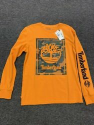 TIMBERLAND MENS LONG SLEEVE LOGO TEE ORANGE CAMO
