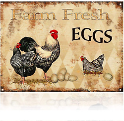MMOUNT Farm Fresh Eggs Chicken Hen Rooster Tin Signs Kitchen Retro Vintage Decor $12.99