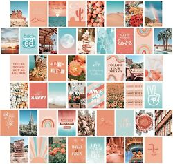 Artivo Peach Teal Aesthetic Wall Collage Kit 50 Set 4x6 inch Girls Bedroom $17.90