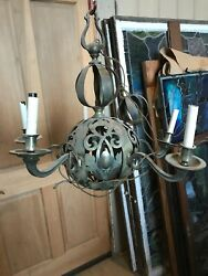 Brass 5 Arm Chandelier Antique As Found 26W 23 High $435.00