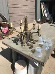 Awesome antique five arm brass whimsical dolphin chandelier art glass shades $1895.00