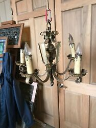 AN five arm iron and steel chandelier as found 19 W 17 H $58.00