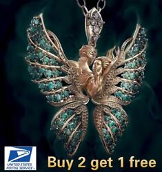 Crystal Angel Wings Butterfly Pendant Necklace Faith and Love Jewelry Fashion