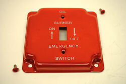 Red Oil Burner Emergency 4quot; Square Toggle Switch Metal Plate Cover W Screws $4.95