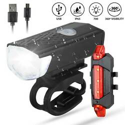 USB Rechargeable LED Bicycle Headlight Front Light Bike Tail Lights Lamp Sets $6.45