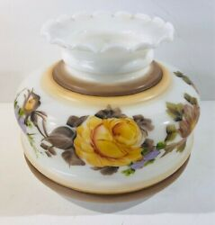 Vintage Milk Glass Painted Floral Fluted Ruffled Lamp Replacement Shade 7.5quot; $16.00
