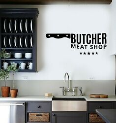 Vinyl Wall Decal Butcher Shop Beef Meat Knife Kitchen Decor Stickers g4534 $20.99