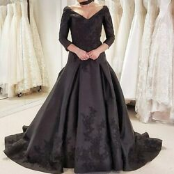 Black Gothic Wedding Dress Satin V Neck Backless Long Sleeve Bride Gowns Custom
