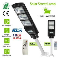 Commercial LED Solar Street Light Motion Sensor Remote Control Wall Lamp w Pole