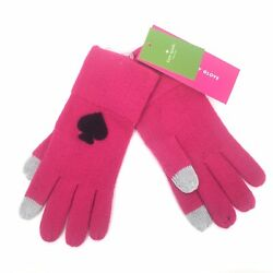 NWT Kate Spade Womens OS Begonia Bloom Winter Gloves Logo Tech Friendly Pink $35.00