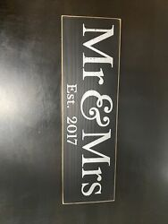 Mr amp; Mrs Est. 2017 Wooden Decor Sign 14in X 4in $8.99
