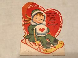 Vintage Girl On Sled Valentines Day Greeting Card B6 $2.95