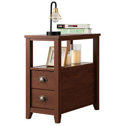 Home End Table w 2 Draweramp; Shelf Narrow Chair Side Nightstand Rustic Style Brown $94.95