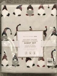NEW Pottery Barn Teen Flannel Holiday Gnome XL Twin Sheet Set Christmas Kids $69.95