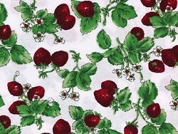 Strawberries With Leaves Cotton Novelty Quilt Fabric By the Yard Off White $11.98