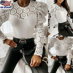 US Womens Lace Long Puff Sleeve Tops Blouse Ladies Party Work Pullover T Shirt $9.99