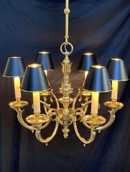 Solid Brass Bouillotte Chandelier French Colonial Georgian $1975.00