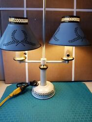 Vintage Metal Student Table Desk Double Lamp Toleware White Gold leaf 21quot; Tall $79.99