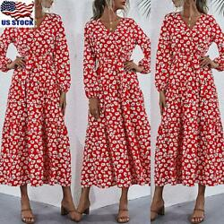 Womens Floral Long Sleeve V Neck A Line Long Dress Ladies Loose Swing Maxi Dress $12.99