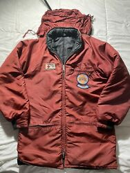 Vintage American Red Cross Ski Patrol Jacket Red Zip Up Reflective Size XL GUC $124.85