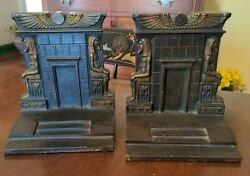 Antique Bradley amp; Hubbard Egyptian Classical Bookends Patinated Cast Iron $149.00