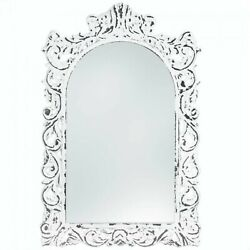 Distressed White Ornate Wood Wall Mirror $64.00