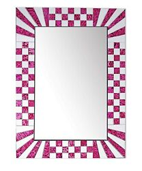 DecorShore Pink Decorative Wall Mirrors With Colorful Glass Mosaic Tiles $99.99