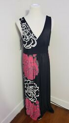 BLOOMING ROSE MAXI SUN DRESS LONG SIZE XL Black amp; Multicolors Free Shipping $20.10