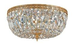 Crystorama 3 Light Clear Italian Crystal Brass Flush Mount $220.00