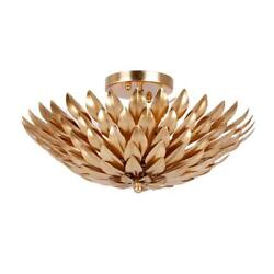 Crystorama Broche 4 Light Antique Gold Flush Mount $430.00