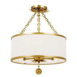 Crystorama Broche 3 Light Antique Gold Ceiling Mount $350.00