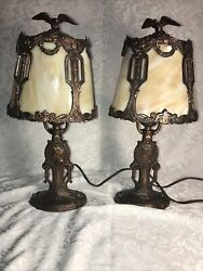 Antique Slag Glass Metal Art Nouveau Boudoir Table Lamps Eagles Victorian Cameos $695.00