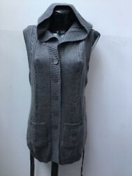 WAISTCOAT BY JAYLEY GREY KNITTED HOODED UP TO UK 16 RRP £75 GBP 29.95