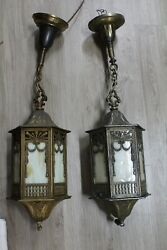 ANTIQUE PAIR BRASS OR BRONZE STAINED GLASS PENDANT LIGHT FIXTURE PORCH ENTRY $999.00
