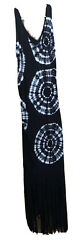 Maxi Dress Large Black And White Beach Cruise Tie Dye Buttery Soft $14.00