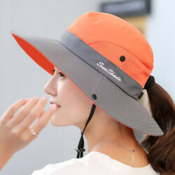 Womens Beach Sun UV Protection Cap Wide Brim Fishing Foldable Mesh Summer Hat $11.58