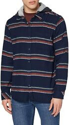 Hurley Mens Portland Stripe Flannel Navy Red Striped Hooded Button Shirt Sz L $48.79