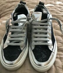 P448 Black Lace amp; Silver Sneakers Womens 6 US 36 Eur. MSRP $285 $44.00