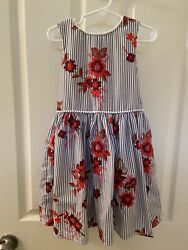 Next UK Dress Gray White Striped Floral Embroidered Girls Size 6 Years $14.99